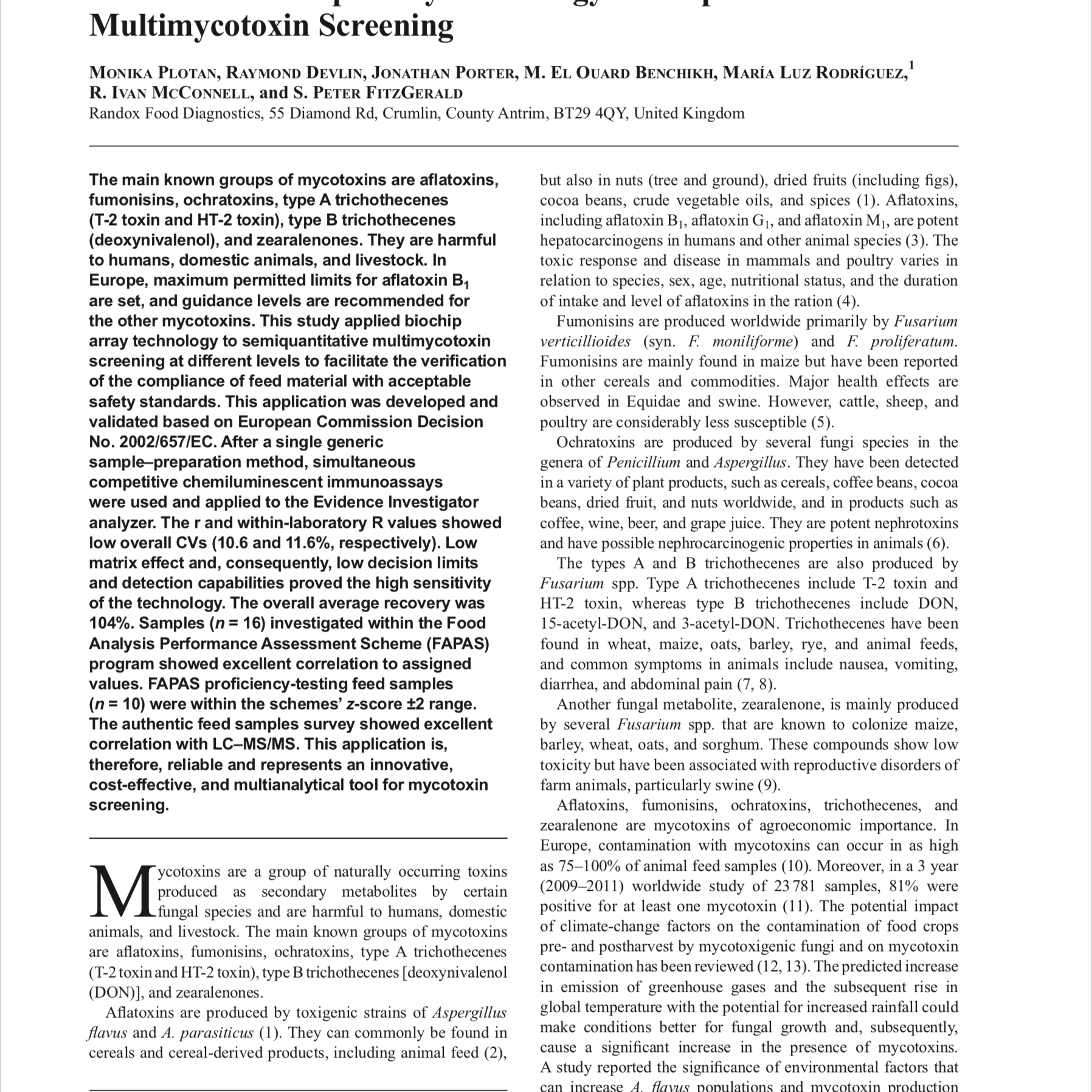 The Use of Biochip Array Technology for Rapid Multimycotoxin Screening